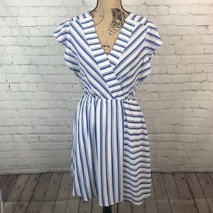 [Monteau] Blue and White Striped Flutter Dress